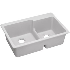 "Elkay Quartz Classic 33"" x 22"" x 9-1/2"", Offset 60/40 Double Bowl Drop-in Sink with Aqua Divide, White"