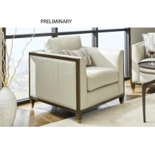 Addison Leather Accent Chair in Frost Grey