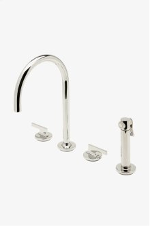 Formwork Three Hole Gooseneck Kitchen Faucet with Metal Lever Handles and Spray STYLE: FMKM50