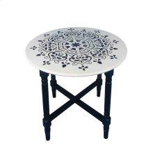 White Wood Accent Table, Black Mandala
