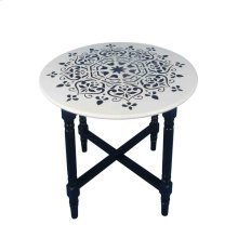 White Wood Accent Table, Black Mandala