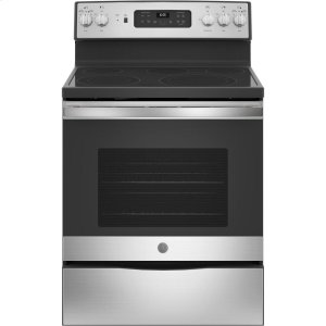 "GE®30"" Free-Standing Electric Convection Fingerprint Resistant Range"