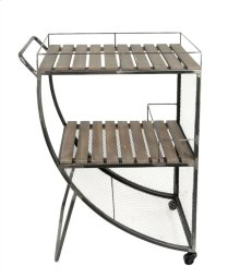 2-tier Bar Cart: Metal/wire Wood Slat
