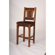 "Buffalo Bill - Bar Stool With Leather Seat. 24 and 30 Inch Standard Heights - (30"")"