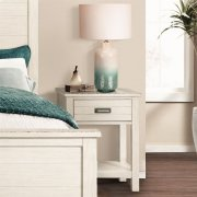 Aberdeen - One Drawer Nightstand - Weathered Worn White Finish Product Image