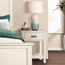 Aberdeen - One Drawer Nightstand - Weathered Worn White Finish