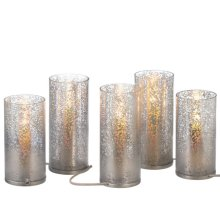 Lighted Silver Pillar Candle set/5.
