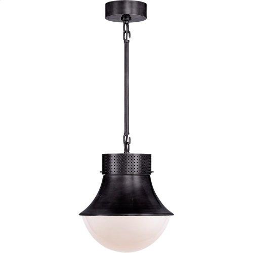 Visual Comfort KW5221BZ-WG Kelly Wearstler Precision 10 inch Bronze Pendant Ceiling Light, Kelly Wearstler, Small, White Glass