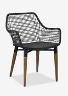 Outdoor Mercury Arm Chair With Wood-Iron Accents Legs-Black Texture Synthetic Rattan (24X24X32) Product Image