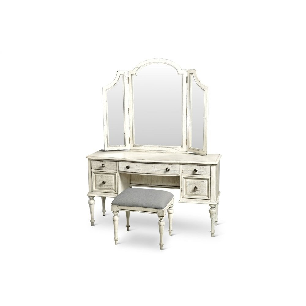 "Highland Park Vanity Desk Cathedral White 54"" x 18"" x 30"""