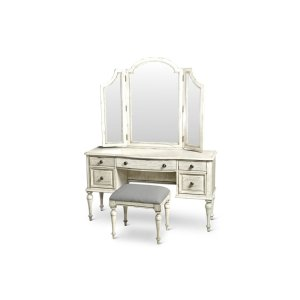 "Steve Silver Co.Highland Park Vanity Desk Cathedral White 54"" x 18"" x 30"""
