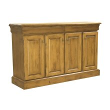 68 Inch Credenza With 4 Diamond Doors and 2 Drawers, Rectangular Wood Top Oval Pewter Knobs, 1 Adjustable Shelf Each Side, 1 Fixed Half Shelf In Center