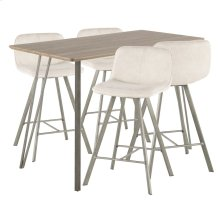Sedona 5-piece Counter Set - Brushed Antique Metal, Brown Wood, Cream Fabric