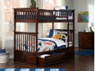 Columbia Bunk Bed Twin over Twin with Raised Panel Bed Drawers in Walnut Product Image