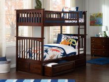 Columbia Bunk Bed Twin over Twin with Raised Panel Bed Drawers in Walnut