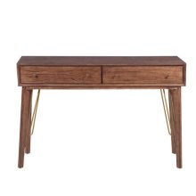 Mid-Century Modern Distressed Walnut Two Drawer Accent Storage Console Table