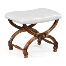 French Style Walnut Footstool with Shell Decoration - COM