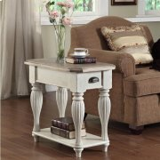 Coventry Two Tone - Chairside Table - Weathered Driftwood/dover White Finish Product Image