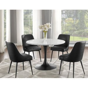 Steve Silver Co.Colfax 5 Piece Black Base/White Marble Top Dining(Table & 4 Side Chairs)