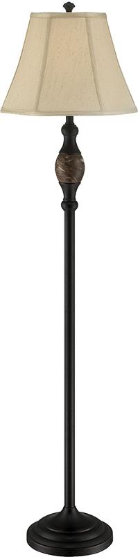 Floor Lamp - Dark BRONZE/L.BEIGE Fabric Shade, E27 Cfl 23w