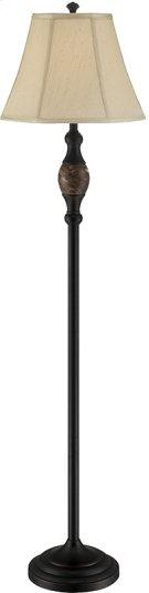 Floor Lamp - Dark BRONZE/L.BEIGE Fabric Shade, E27 Cfl 23w Product Image