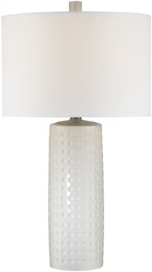 Table Lamp, White Ceramic Body/white Fabric, E27 Cfl 23w