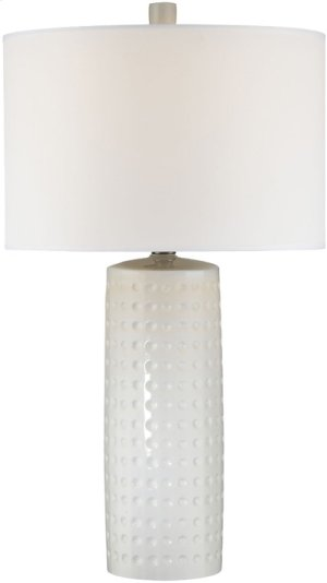 Table Lamp, White Ceramic Body/white Fabric, E27 Cfl 23w