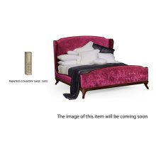 US Queen Louis XV Country Sage Bed, Upholstered in Fuchsia Velvet