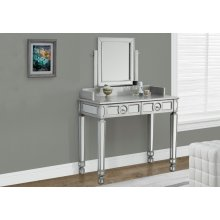 "VANITY - 36""L / BRUSHED SILVER / MIRROR / 2 DRAWERS"