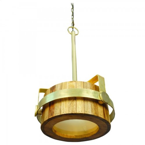 One Light Pendant in Natural Brass Finish in Small