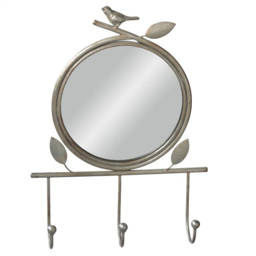 Antique Silver Bird Wall Mirror with Hooks