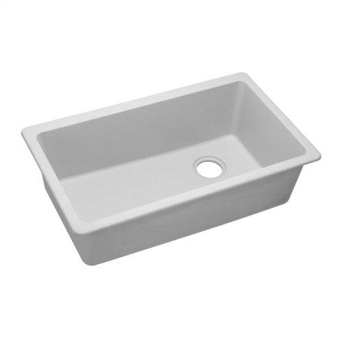 "Elkay Quartz Classic 33"" x 18-3/4"" x 9-1/2"", Single Bowl Undermount Sink, White"