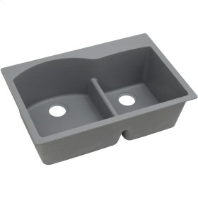 "Elkay Quartz Classic 33"" x 22"" x 10"", Offset 60/40 Double Bowl Drop-in Sink with Aqua Divide, Greystone"
