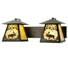 "24""W Moose at Dawn 2 LT Wall Sconce"