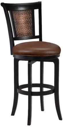 Cecily Swivel Bar Stool - Completely Kd Base - Black Wood Frame/blk Copper Inset Back Panel