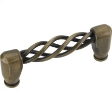 """3-9/16"""" Overall Length Twisted Iron Cabinet Pull. Holes are 3"""" center-to-center."""