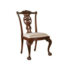 CARVED POLISHED MAHOGANY SIDE CHAIR