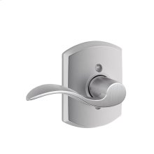 Accent Lever with Greenwich Trim Non-Turning Lock - Satin Chrome