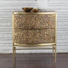 Crinkle Bedside Chest-Brass/Bronze
