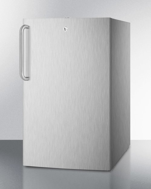 """Commercially Listed 20"""" Wide Built-in Refrigerator-freezer In Complete Stainless Steel With A Lock and Towel Bar Handle"""