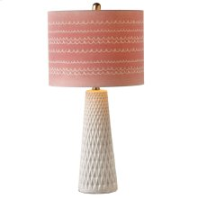 Diamond Pattern Table Lamp with Pink Shade. 60W Max.