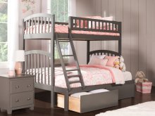 Richland Bunk Bed Twin over Full with Urban Bed Drawers in Atlantic Grey