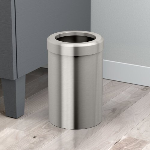 Round Modern Waste Can in Matte Black