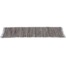 Blue & Beige Leather Chindi 2'x6' Rug (Each One Will Vary)