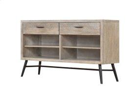 Emerald Home Nova Sofa Table Wood W/2 Drawers Sterling Gray-black Metal Legs T700-02