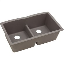 "Elkay Quartz Classic 33"" x 19"" x 10"", Equal Double Bowl Undermount Sink with Aqua Divide, Greige"