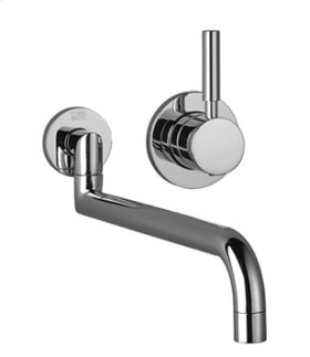 Single lever mixer with individual flanges