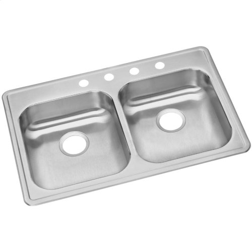 """Dayton Stainless Steel 33"""" x 22"""" x 5-3/8"""", Equal Double Bowl Drop-in Sink"""