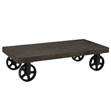 Garrison Pine Wood Top Coffee Table in Black