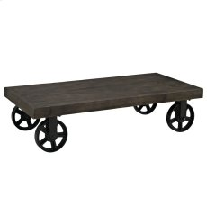 Garrison Pine Wood Top Coffee Table in Black Product Image